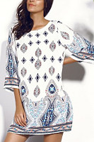 Round Neck  Print Casual Dresses
