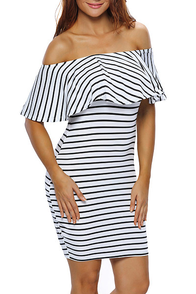 Off Shoulder Stripes Fitted Bodycon Dress