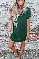 V Neck  Plain  Short Sleeve Casual Dresses