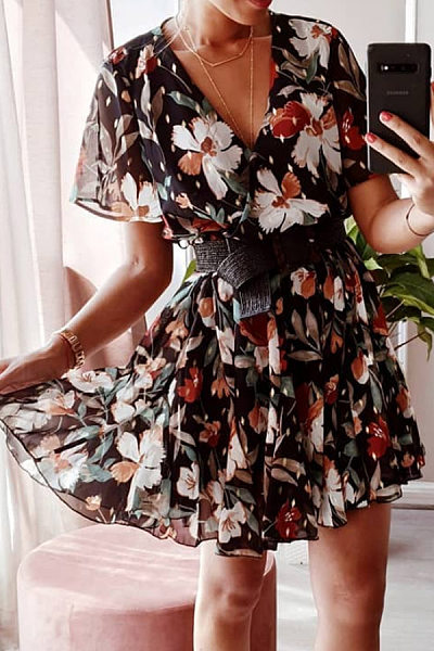 V Neck Floral Chiffon Flared Casual Dresses