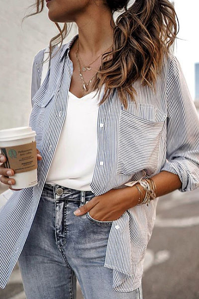 Casual Fold-Over Collar Single-Breasted Double-Pocket Pinstripe Long-Sleeved Shirt