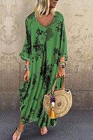 V Neck Half Sleeve Floral Casual Dress