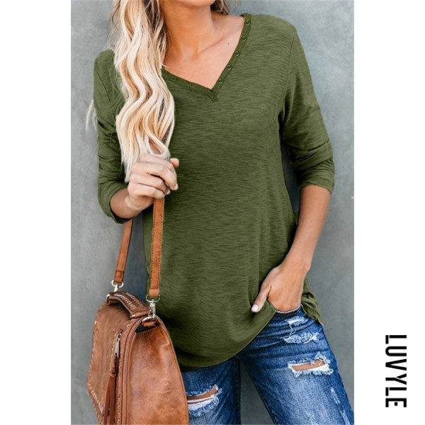 Casual V Neck Decorative Buttons Long Sleeve T-shirt - from $17.00