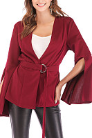 Deep V Neck  Belt  Plain Cardigans