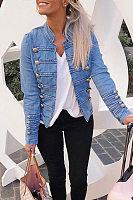 Fashion Decorative Buttons Denim Jacket