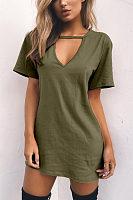 V Neck  Plain Casual Dresses