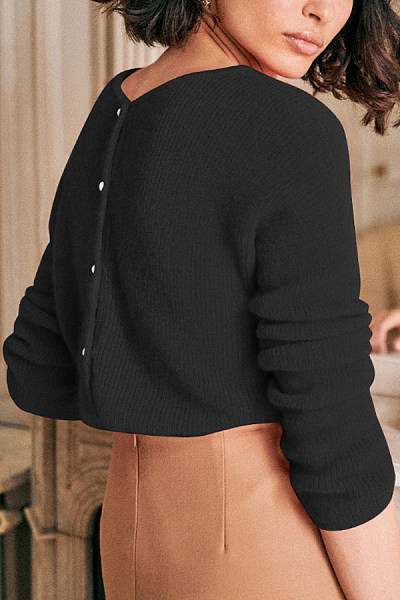 V Neck Plain Casual Sweater