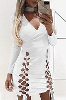 Halter V Neck  Bowknot Lace Up  Plain  Long Sleeve Party Dresses