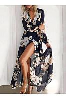 Bohemia Deep V Collar Printing Long Sleeves Beach Vacation Dress