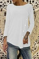 Round Neck Long Sleeve Plain Asymmetrical Hem Button T-Shirts