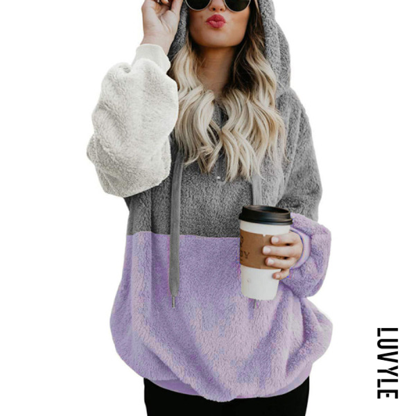 Casual Hooded Colouring Loose Colouring Fluffy Sweatshirt - from $18.00