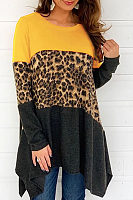 Round Neck Long Sleeve Leopard Colouring T-shirt