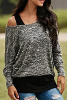 Open Shoulder  Patchwork Sweaters