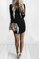 Long Sleeves Curved Hem Shirt Dress
