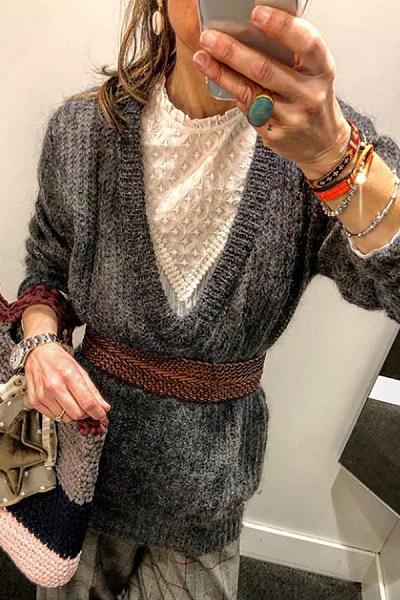 V Neck Plain Long Sleeve Sweater