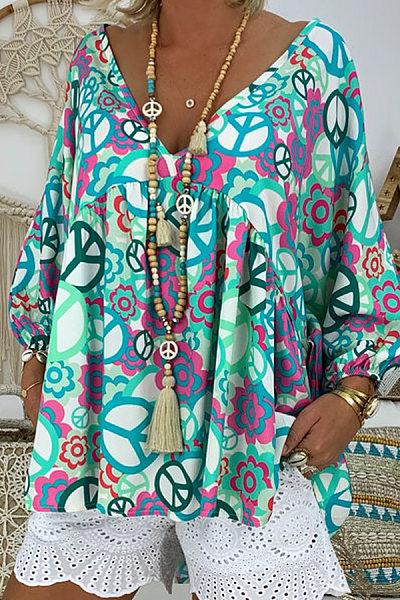 Fun print V-neck long-sleeved shirt
