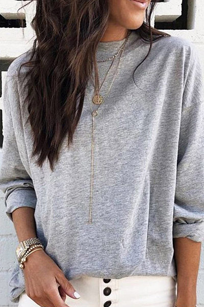 Round Neck Loose-Fitting Casual T-Shirt