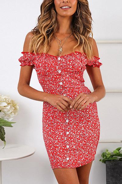 Sexy Sling Floral Ribbon Strap   Hip Dress