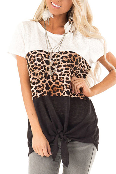 Casual Round Neck Color Leopard Patchwork Short Sleeve T-Shirt
