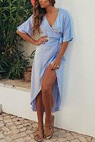 Deep V Neck  Asymmetric Hem  Plain  Short Sleeve Maxi Dresses