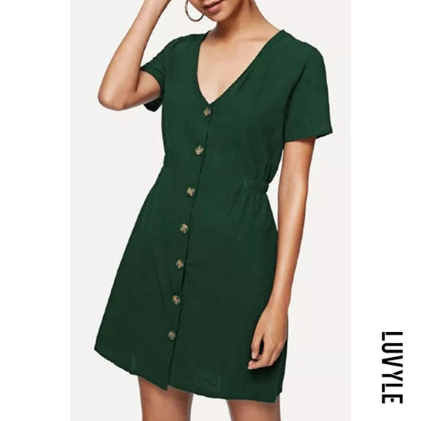Army Green V Neck Single Breasted Plain Short Sleeve Casual Dresses Army Green V Neck Single Breasted Plain Short Sleeve Casual Dresses