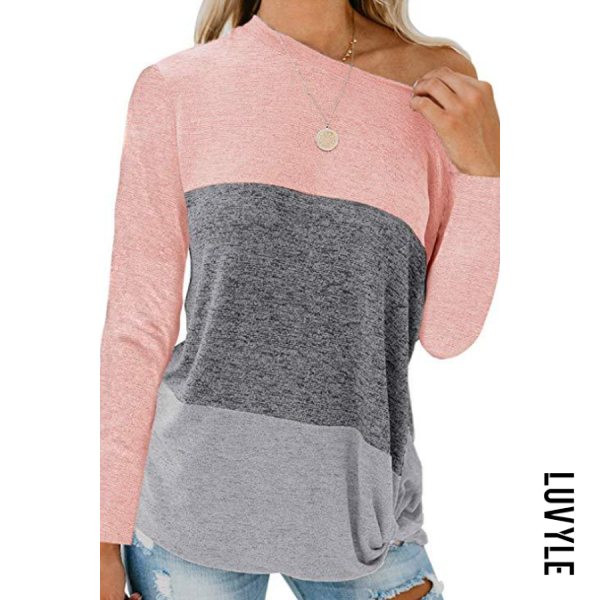 Pink Casual Round Collar Color Block T-Shirts Pink Casual Round Collar Color Block T-Shirts