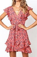 V Neck  Printed  Short Sleeve  Elegant Skater Dresses