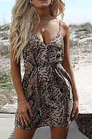 Spaghetti Strap  Animal Printed  Sleeveless  Sexy Bodycon Dresses