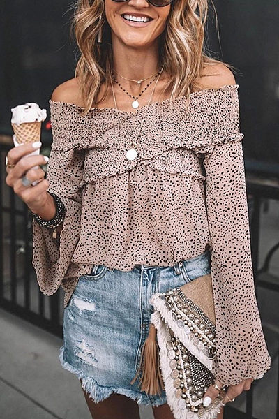 Fashion Boat Neck Floral Pattern Off-Shoulder Blouse