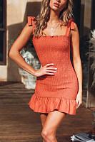 High Waist Slim Pleated Ruffled   Strap Mini Dress