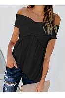 Casual Shoulder Pleated Short Sleeve T-Shirt