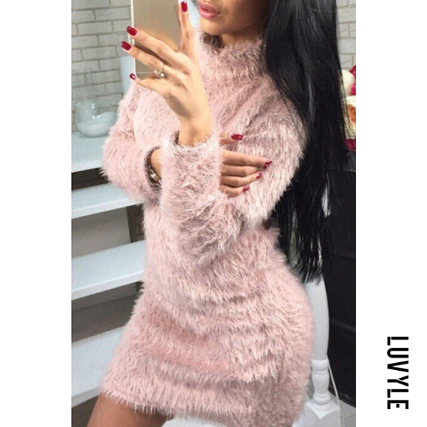 Pink High Neck Plain Long Sleeve Bodycon Dresses Pink High Neck Plain Long Sleeve Bodycon Dresses