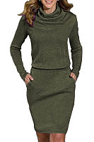 High Neck  Patchwork  Plain  Long Sleeve Bodycon Dresses