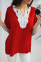 Casual V Neck Long Sleeve Lace Up Shirt