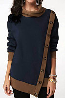 Button-decorated irregular hem casual plus size sweater