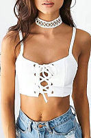 Spaghetti Strap  Lace Up  Exposed Navel Camis