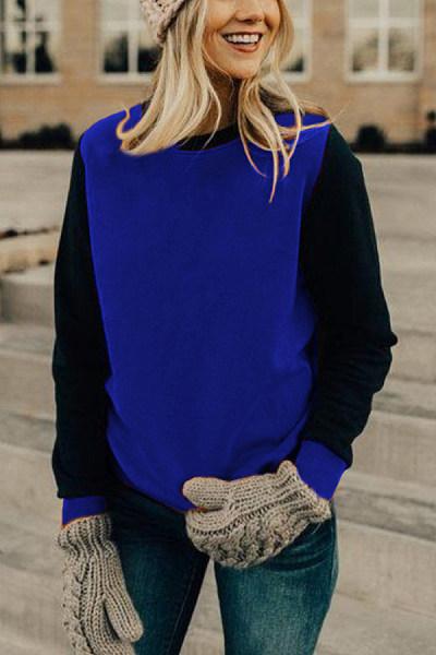 Round  Neck  Patchwork  Basic  Sweatshirts