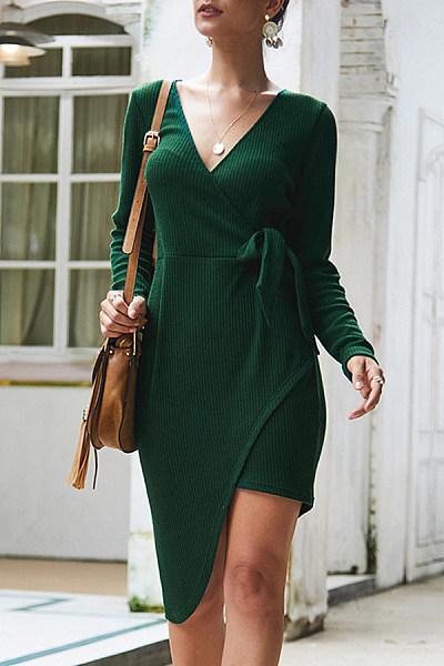 Sexy V-Neck Long-Sleeved Irregular Hem Lace-Up Knit Bodycon Dress