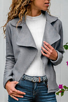 A Lapel Long Sleeve Plain Jacket