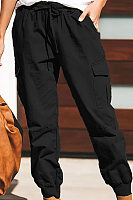 Women's elastic waist multi-pocket loose beam casual trousers