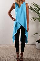 Round Neck  Asymmetric Hem  Plain  Vests