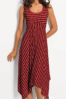 Scoop Neck Sleeveless Asymmetrical Hem Stripes Casual Dresses