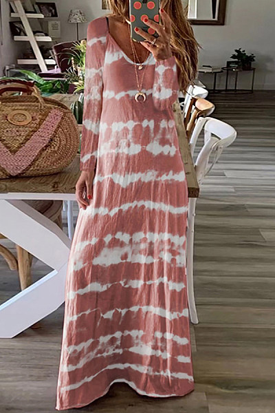 Casual V-Neck Tie Dyeing Printed Loose Long-Sleeved Dress