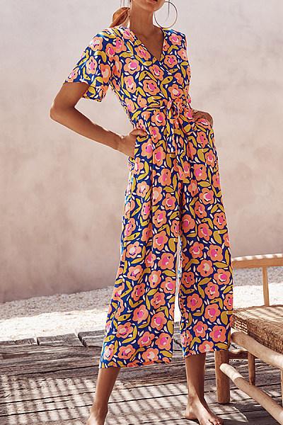 V-Neck Short-Sleeved Printed Jumpsuit