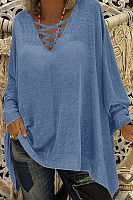 Cross V Neck Batwing Sleeve Loose T-shirt