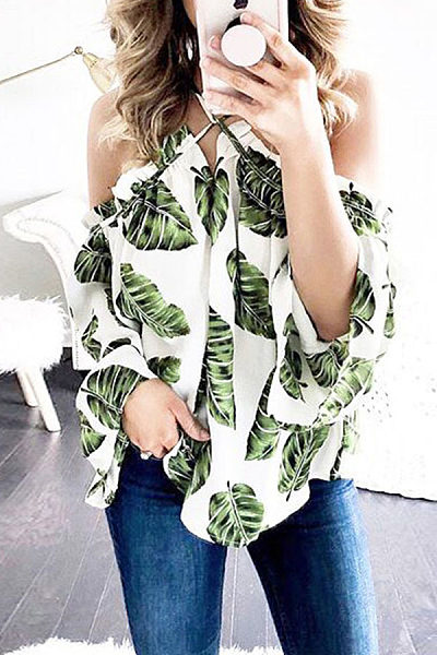 Sexy Cross Halter Leaf Printed Blouse