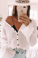 V Neck Long Sleeve Button Plain See Through Blouses