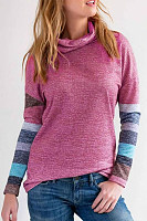 Cowl Neck  Patchwork Striped Sweaters