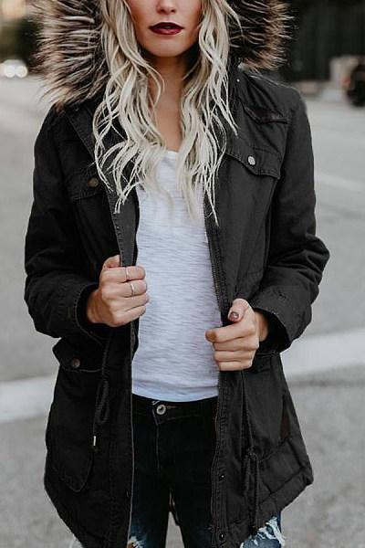 Fashion Hair Collar Full Cotton Long-Sleeved Jacket