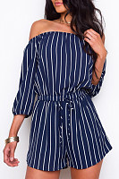 Open Shoulder  Elastic Waist  Stripes  Half Sleeve  Playsuits